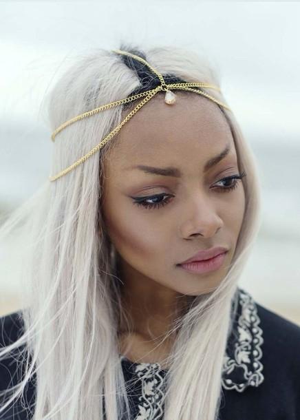 jewels head jewels pretty crystal gold chain boho black girls killin it