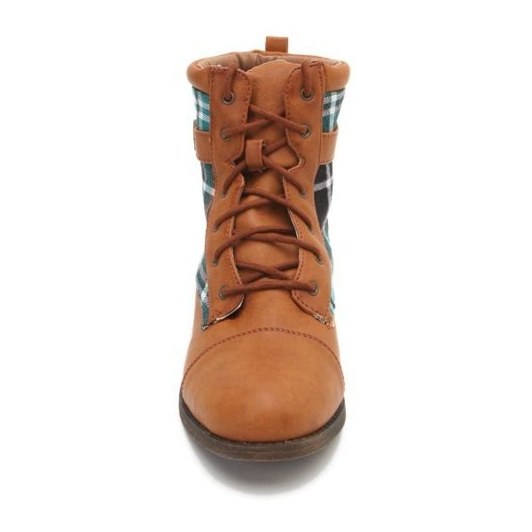 Qupid Plateau Plaid Work Boots - Polyvore