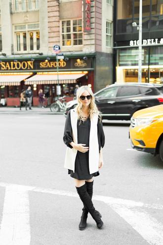 blue eyed finch blogger sleeveless coat black dress long sleeve dress knee high boots suede boots