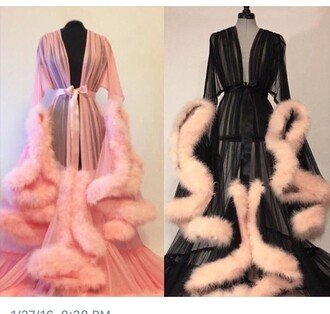 home accessory pajamas robe romper pink black jacket robes fluffy lingerie blouse baby pink fluffy lingerie dress fur robe fluffy pink police fur rob sheer