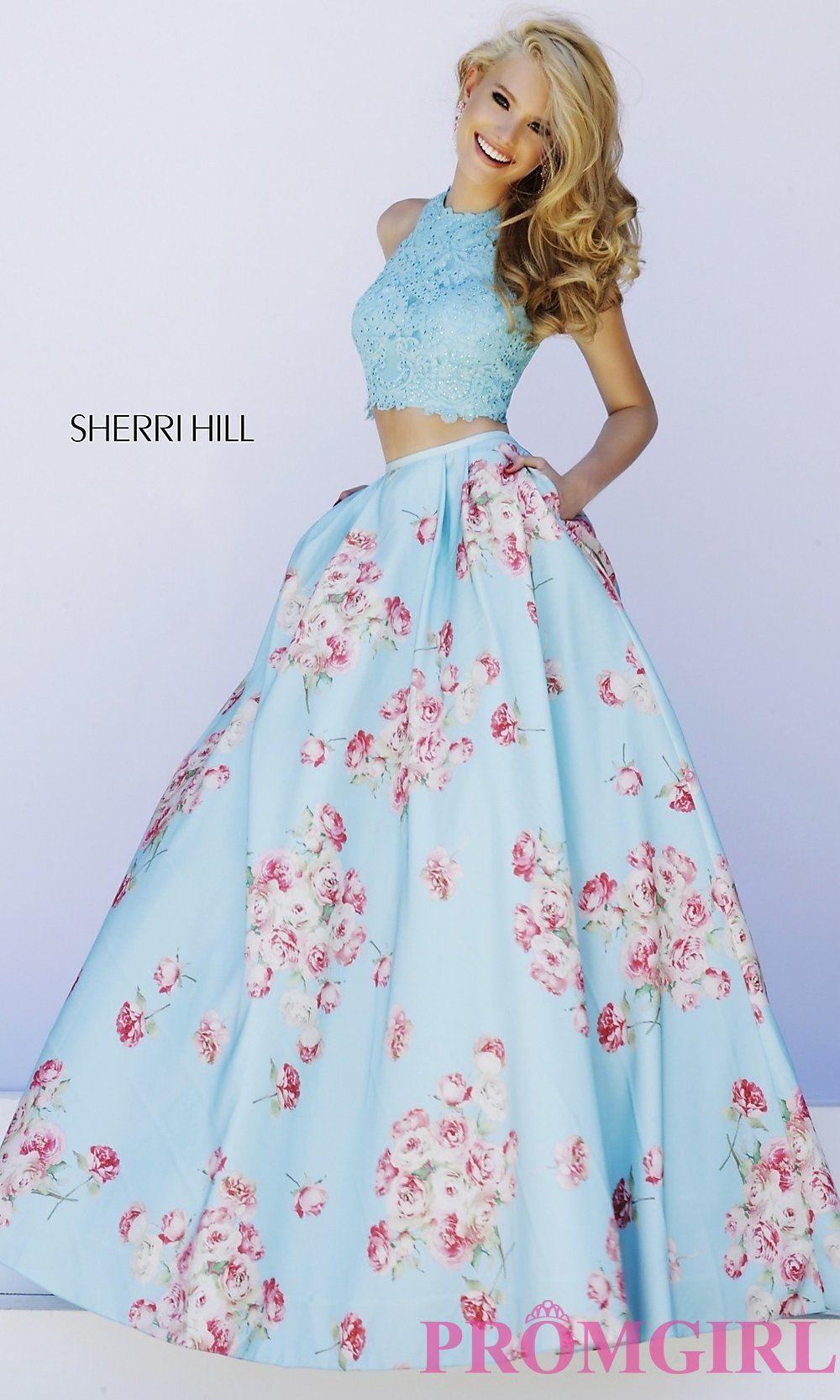 Two Piece Print Ball Gown by Sherri Hill
