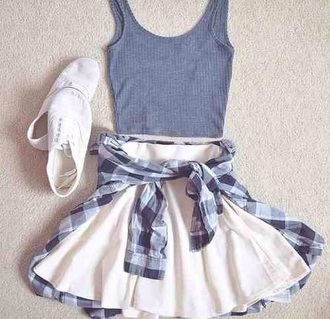 skirt skater check tartan flannel pattern blue white navy tumblr girl cute teenagers indie alternative rock cool summer spring beach party tank top knitted crop top