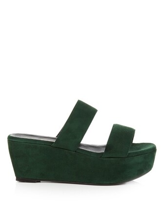 sandals flatform sandals suede dark green shoes