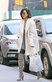 dress,sunglasses,hair accessory,vanessa hudgens,boots,knee high boots,shoes,coat