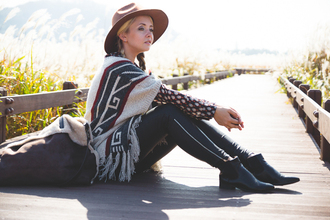 my blonde gal blogger bag blouse hat pants shoes