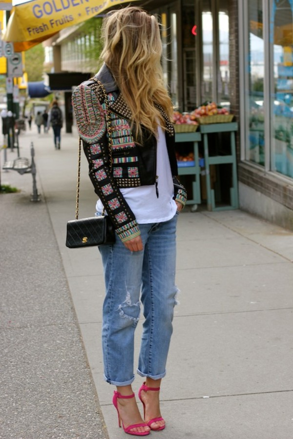 a fashion love affair t-shirt jeans jacket bag shoes