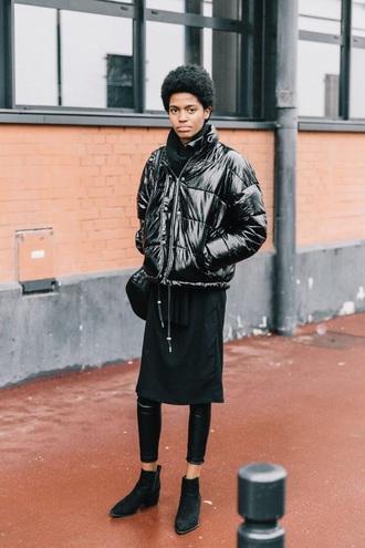 jacket bomber jacket puffer jacket black jacket black leggings black boots boots ankle boots leggings