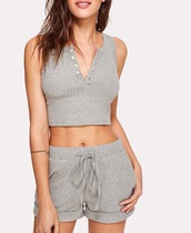 romper,girly,grey,knit,two-piece,crop tops,cropped,crop,shorts,ribbed