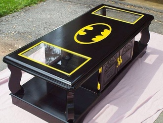 home accessory black yellow batman table