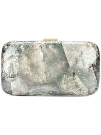 women shell iridescent clutch grey metallic bag