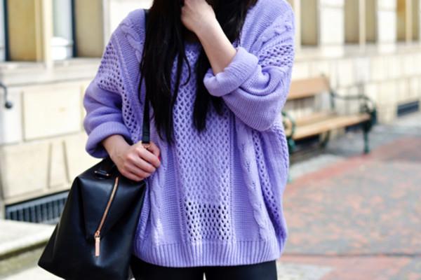 sweatshirt knitting knitting sweater purple purple sweater holes lilac sweater pastel sweater sweater
