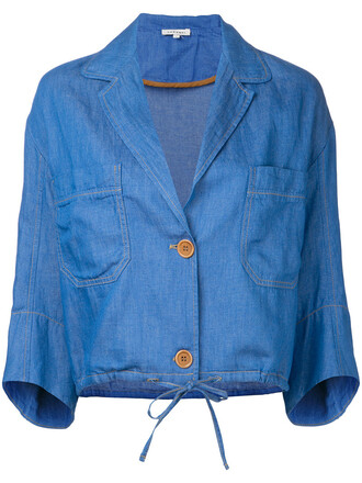 jacket cropped jacket cropped women cotton blue