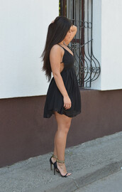 dress,tie back,skater dress,layered dress,blavk,sexy dress