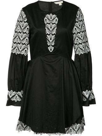 dress embroidered women cotton black