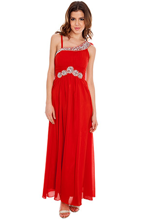 V-Point One Shoulder Chiffon Maxi Dress