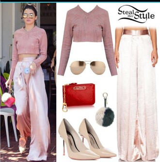 jumpsuit pink kendall jenner wide-leg pants pink top