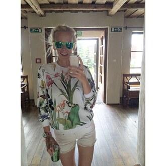 blouse yeah bunny floral summer garden cute sweatshirt