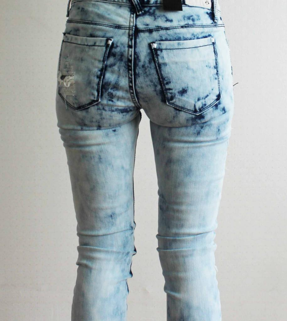 Distressed Ripped Tie Dye Blue Skinny Jeans Lace Lined Destroyed UK 4 6 | eBay