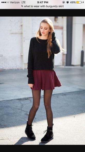 sweater black sweater skirt burgundy skirt