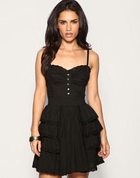 buttons little black dress short dress thin straps dress ruffled