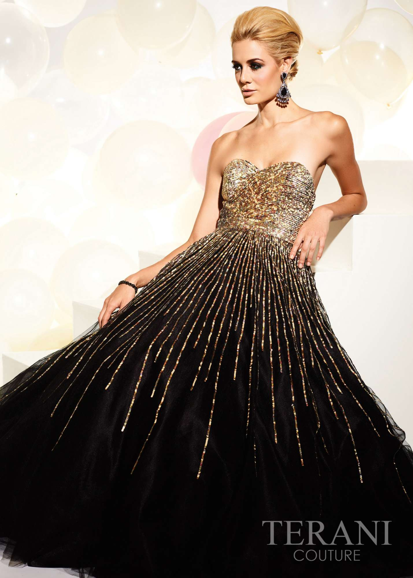 Terani 95220P - Black Sequin Tulle Ball Gown - RissyRoos.com