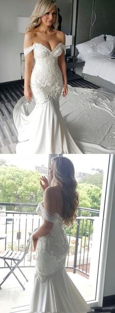 dress wedding dress white dress lace dress off the shoulder dress