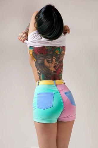 shorts pastel high waisted high waisted shorts mini shorts multicolor