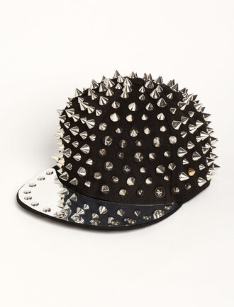 hat spike hat spiked hat spikes spike snapback black snapback silver