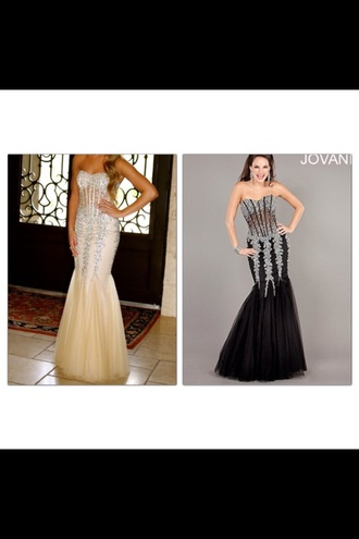 black prom dress long prom dress jovani corset dress beading champagne strapeless mermaid prom dresses mermaid dress shearing