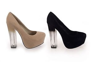 LADIES FAUX SUEDE CONCEALED PLATFORM TRANSPARENT/OMBRE COURT HEELS/SHOES | eBay