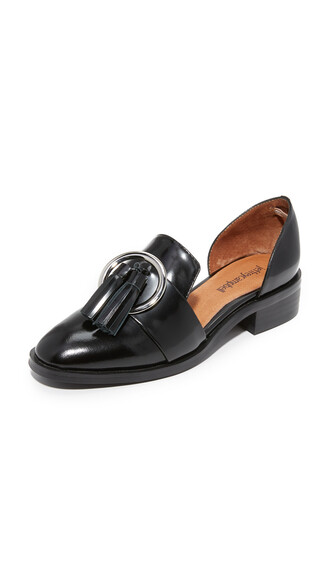 flats silver black shoes