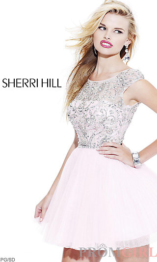 Sherri Hill Party Dress, Cap Sleeve Dress, Short Dress- PromGirl