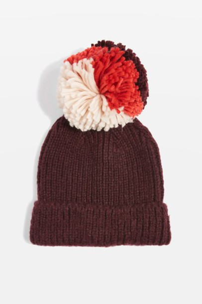 hat beanie knit burgundy