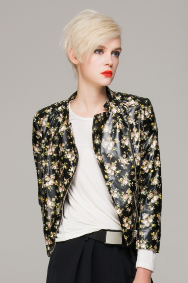 Faux leather jacket in floral