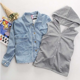 clothes fashion style jacket hoodie cute fall outfits girly coat denim jacket streetwear outfit two-piece