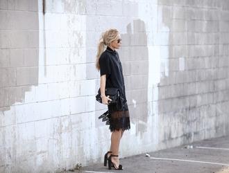 happily grey blogger bag black heels black shirt lace skirt black skirt