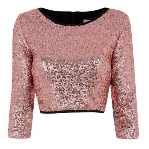 Top: rose gold sequin, crop tops, sequins, sequin top, pink, rose ...