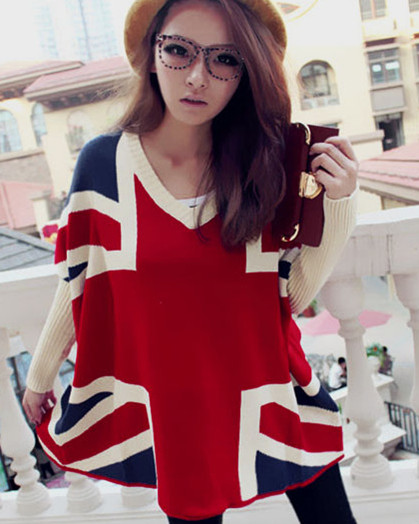 Omiel stylish loose cotton blends union jack pattern v collar bat wing sleeve women sweater