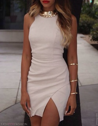 dress jewels gold jewels white dress cut-out splitdress thighcut white cut-out dress mini dress jewels formal fitted dress classy nude
