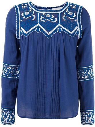 blouse embroidered blue top