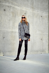 fashionjackson,blogger,sweater,pants,shoes,bag,sunglasses,jewels,turtleneck sweater,grey sweater,crossbody bag,black bag,thigh high boots,flat boots