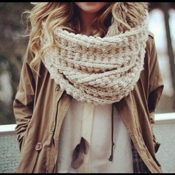 scarf clothes knitwear jacket brown blouse white winter outfits pretty beige  white fall outfits knit knitted. 856dccd074a9