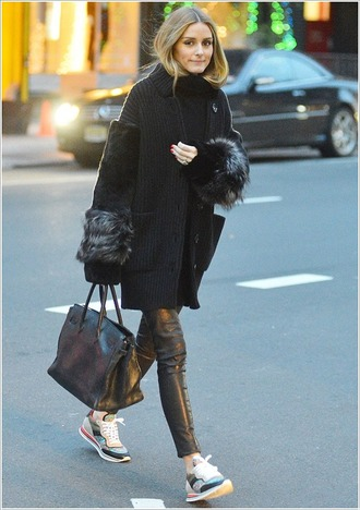 shoes sneakers coat olivia palermo fall outfits cardigan