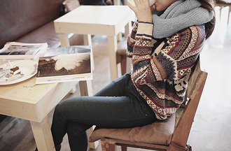sweater hipster winter outfits jumper bag black jeans grey scarf infinity scarf pull cute fall outfits winter sweater knitwear jaquard girly cozy sweater jeans coffee book
