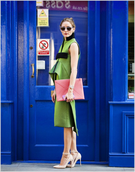 dress olivia palermo fashion week 2014 green sunglasses