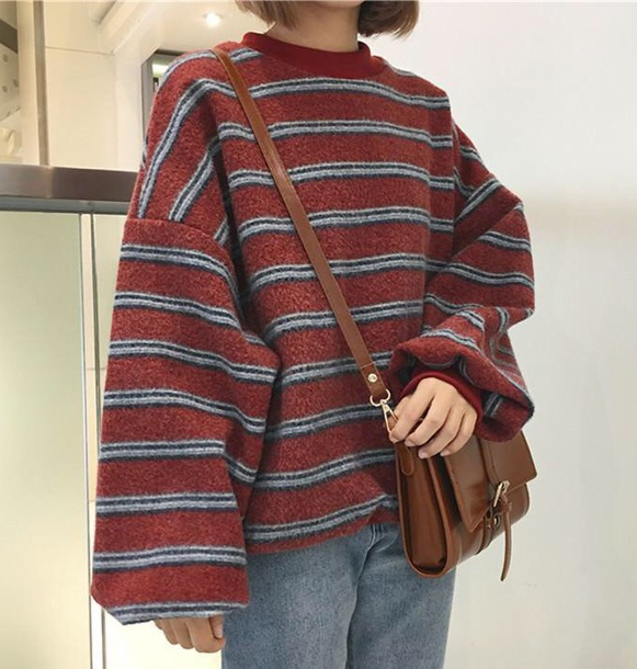 sweater girly sweatshirt jumper stripes oversized sweater oversized tumblr