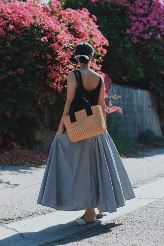 skirt top tumblr gingham maxi dress black top bag woven bag shoes slide shoes gingham skirt asymmetrical skirt