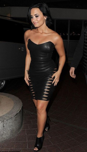 dress strapless bustier dress leather booties demi lovato