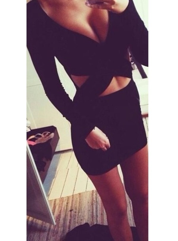 dress bodycon bodycon dress hollow dress black little black dress beautiful prom hot 2014 party dress short long sleeves black dress sexy long sleeves fashion style party bodycon dress criss cross