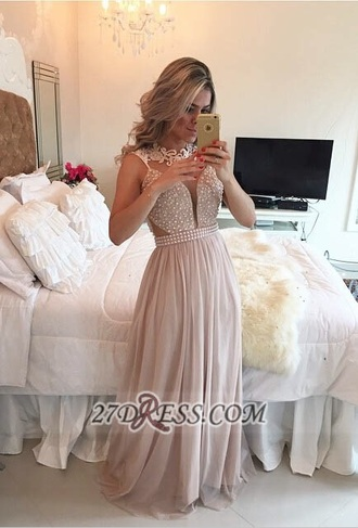 dress pearl chiffon prom prom dress long dress lace